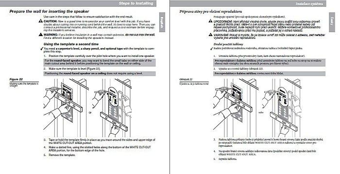 Instalační manuál pro montáž reproduktorů