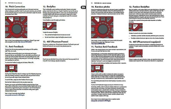 Překlad PDF - vokální a akustický kytarový procesor